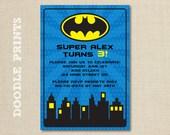 "Printable Batman Super Hero Birthday Party Invitation - Customized Printable Invitation Boy's Party ""Batman Gotham Design"" 4x6 or 5x7"
