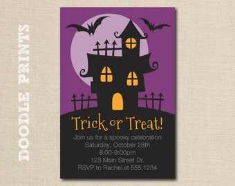 """Printable Halloween Party Invitation - Haunted House Design - Halloween Card Invitation - Trick or Treat Party - Costume Party - 4x6"""""""