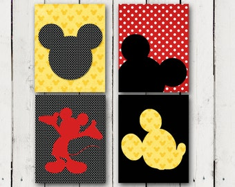 Mickey Mouse inspired 4 silhouette prints- Instant Download
