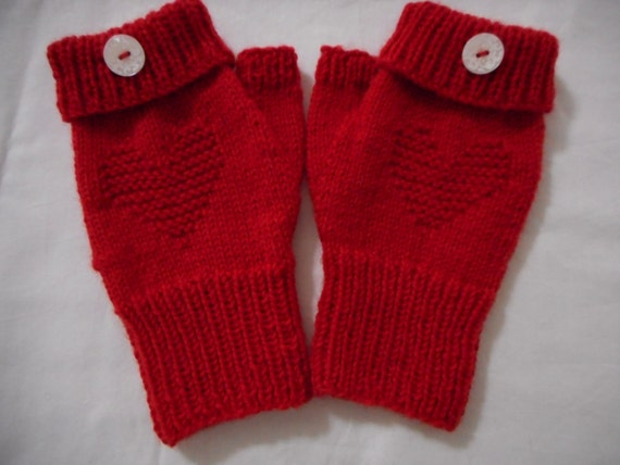 Fingerless Mittens Red Heart Mittens Ready by ...