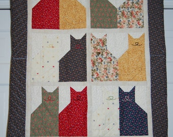 Quilted Cat Wall Hanging, Hand Quilted, Patchwork, Cats Quilt