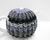 Modern Stripes Tea Pot Cozy, Kitchen Accessories, Hand Knit Tea Cozy, Black Gray & Lavender Tea Cozy