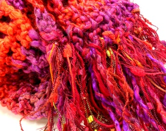 Red and Purple Crochet Scarf, Womens Accessories, Gypsy Inspired Fringed Scarf