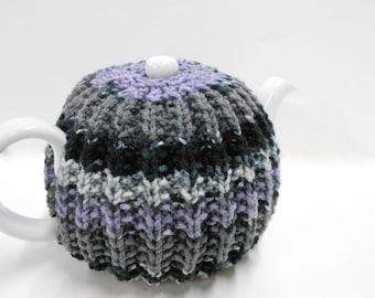 Modern Stripes Tea Pot Cozy, Kitchen Accessories, Hand Knit Tea Cozy, Black Gray & Lavender Tea Cozy