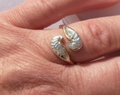Angel Wings ring in silver and gold with secret hidden heart detail, completely handmade one time piece, adjustable size, romantic gift,