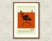 Mad Men Eames Chair Inspired Poster - 20 x 30 Handprinted Silkscreen Art Print, New York, Manhattan, Mid-Century Modern, Office, Man Cave