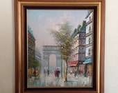 Vintage T Carson Oil Painting Framed Paris Scene