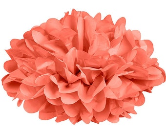Coral Tissue Paper Pom Poms - Set of 4