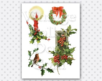 Clip Art Vintage Christmas Holiday Victorian Candle Wreath Holly Berries Bird Digital Collage Sheet Graphics Printable Instant Download