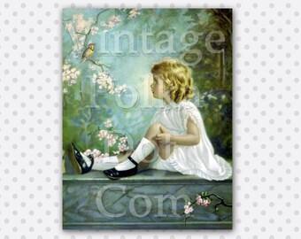 Clip Art Bird Garden on Blossoms Spring Blossoms Little Girl Vintage Printable Art Print Digital Instant Download Springtime