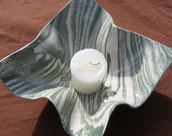 Ceramics and Pottery Modern Swirl Bowl - Sage Green and White Marbled Handmade Stoneware Agateware Hostess Gift Idea