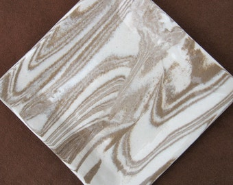 Ceramics and Pottery Plate or Soap Dish - Handmade Stoneware - Brown and White Marbled Pottery Agateware - Hostess Gift