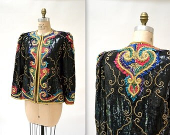 Vintage Sequin Jacket Size Medium Large Black and Gold// Black Gold Embroidered Sequin and Beaded Jacket Size Large Baroque Inspired