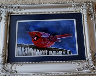 Bird Painting:  Baby, It Is Cold Outside  - male cardinal, snow, tree stump, winter scene, blue, birds, red bird