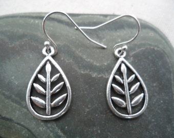 Silver Tree Earrings Leaf Earrings Simple Everyday Silver Earrings