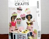 UNCUT McCall's 6052 Sewing Pattern For Adorable Cupcake Apron Headband Treat Bag and Other Pretend Play Items With Factory Folds