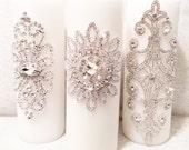 Wedding Unity Candles   Rhinestone Embellished   White or Ivory