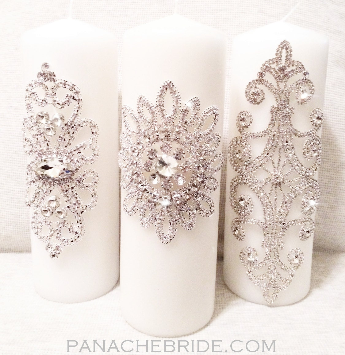 Wedding Candles: Wedding Unity Candles Rhinestone Embellished By Panachebride