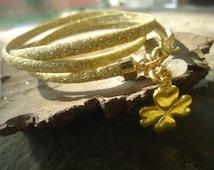 Glitter GOLD wrap BRACELET with CITRIN (691)
