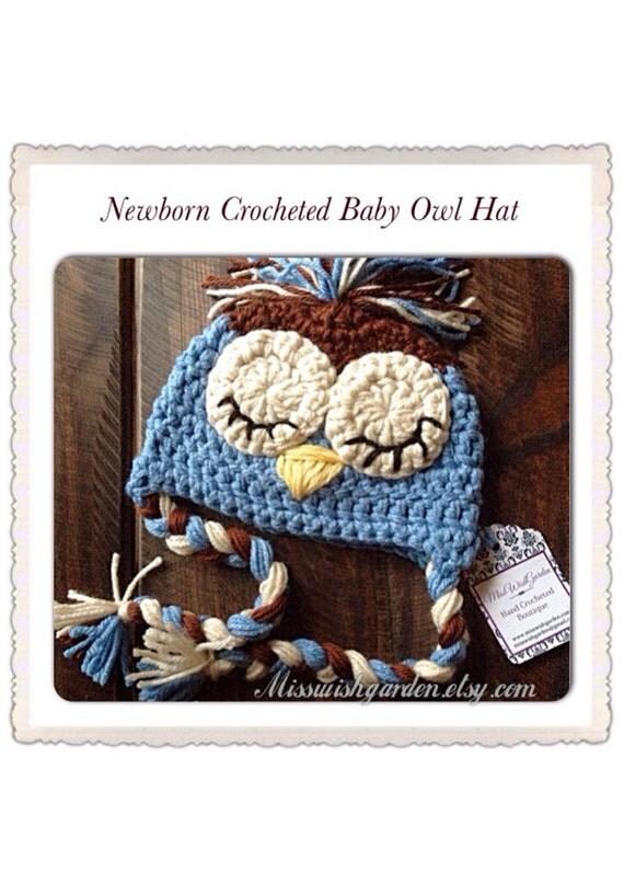 Sleepy Baby Owl hat newborn owl hat baby owl hat photography prop owl hat newborn hat baby hat handmade crochet owl hat owl baby hat