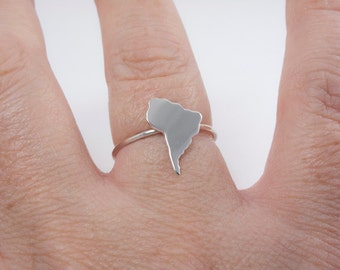 South America Ring Heart 925 Sterling Silver Ring Map Adoption Jewelry South America Map Jewel