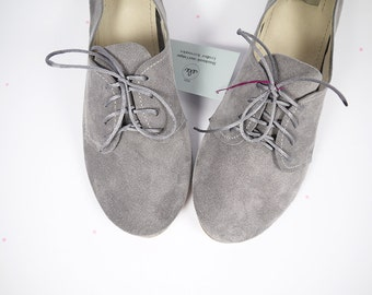 Oxfords Shoes in Gray Grey Handmade Leather Laced up Flats Shoes