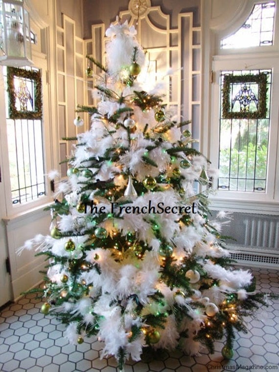 christmas white feather garland decoration ornament wreath centerpiece feather tree shabby chic decor french country cottage rustic - Feather Christmas Trees