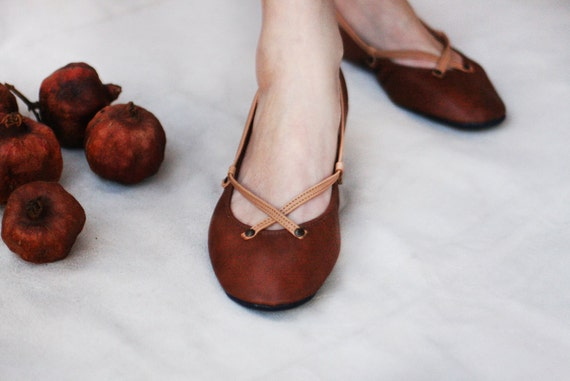 The Pomegranate - Handmade Leather ballet flat shoes - CUSTOM FIT