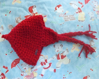 Red riding hood hat baby girl or boy with embroidered wolf crochet red handmade