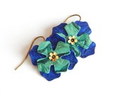 Flower Earrings Blue and Green Leather