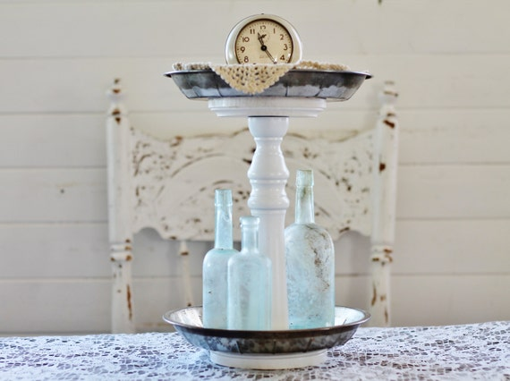 Tiered Metal Stand - Created from Vintage Pie Pans & Wooden Spindle - Repurposed and Upcycled