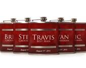 5, Groomsmen Gift Flask Sets, Personalized Flasks for Groomsmen, Red Design for Groomsmen, Best Men and Usher Gifts