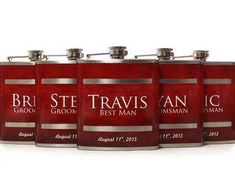 5, Groomsmen Gift Flask Sets, Personalized Flasks for Groomsmen, Red Design for Groomsmen, Best Men and Usher Gifts