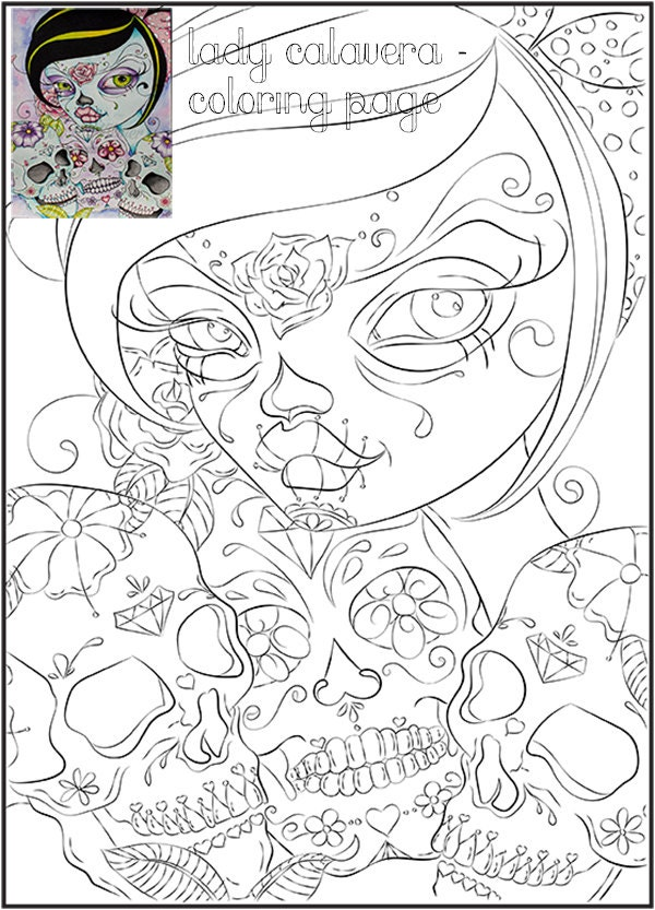 Day of the Dead Art Coloring Page Adult Coloring Page
