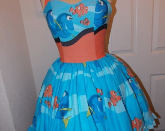 Custom made to order Nemo and Marlin SweetHeart Ruffled Halter Mini Geekery Pin Up Dress for Duchess Demetro
