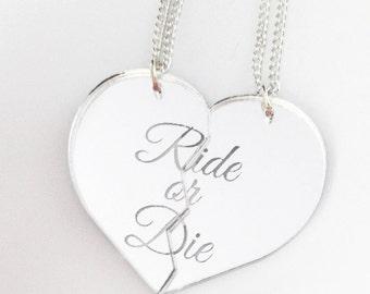 Ride or Die - Friendship Necklace Set - Silver Split Heart