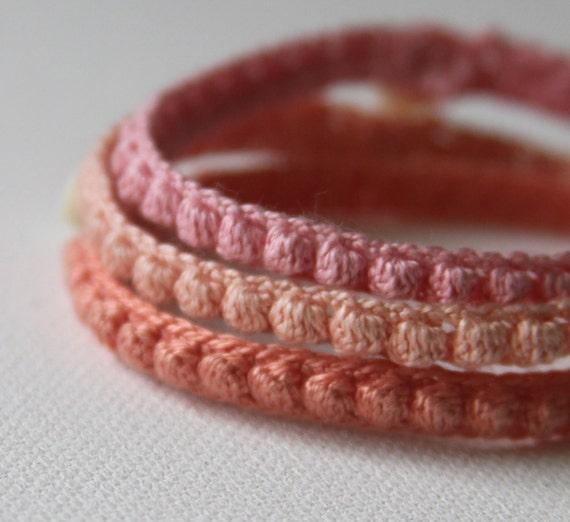 Crochet Pattern Bobble Bracelets Bangles Cuffs