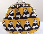 Free Shipping - Handmade Coin Purse Big Big Panda in Yellow