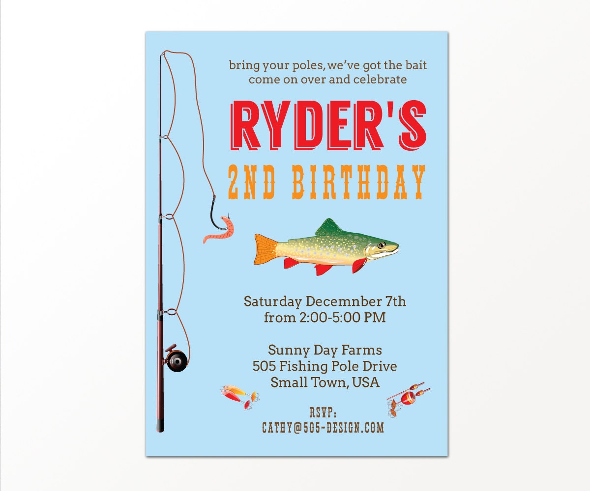 Fishing party invitation gone fishing party by 505design for Fishing birthday party invitations