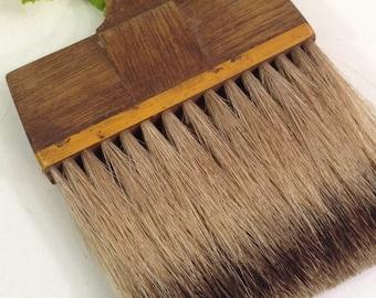 """Antique Vintage Natural Bristle Brush with Walnut Wood Handle 8 1/2"""" long- vanity brush, crumb brush, paintbrush, wood handled brush"""