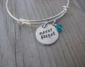 "Inspiration Bracelet- Hand-Stamped ""never forget"" Bracelet with an accent bead in your choice of colors"