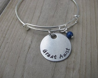 """Great Aunt Bracelet, """"Great Aunt"""" with an accent bead of your choice"""