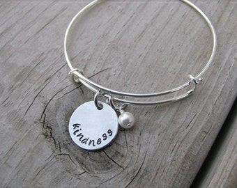 "Inspiration Bracelet- Hand-Stamped ""kindness"" Bracelet with an accent bead in your choice of colors"