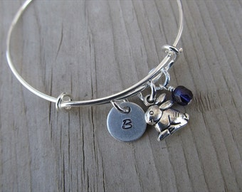 Rabbit Bangle Bracelet- Adjustable Bangle Bracelet with Hand-Stamped Initial, Rabbit Charm, and accent bead