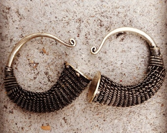 Tibetan Silver Vintage Handmade tribal large gauged earrings hangers hoops