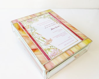 Stained Glass Keepsake Memory Gift Box Bat Mitzvah Family Wedding Invitation Bride Groom Photograph 50th Anniversary Custom Made-to-Order