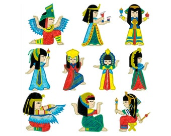 EGYPT DOLLS - Machine Applique Embroidery - Instant Digital Download