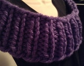 Super Chunky Purple Wool Infinity Cowl Scarf Wrap hand Knit Holiday Gift