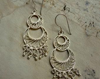 Chandelier Earrings, filigree earrings, silver earrings, dangle earrings, dangle earrings, statement earrings, bollywood earrings, boho