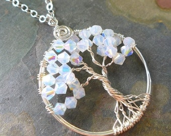 Petite-Mini-Small Crystal Tree of Life Pendant with Sterling Silver Chain--Wire Wrapped Swarovski Crystal Tree of life- April Birthstone
